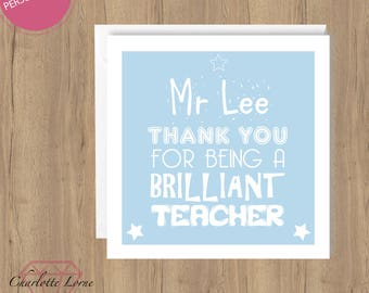 Thank You Teacher Card - Personalised Teacher Name - Thank You Card - School Teacher - Printable Card - Digital Download File - Typography