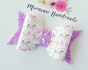Unicorns Petal Faux Leather Hair Bow, Glitter Bow, Nylon headband, Hair clip, You Choose Headband or Clip