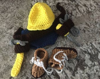 Crocheted work mens photo prop outfit