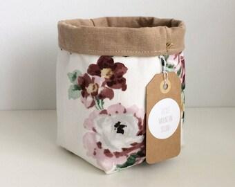 Brown & Floral Fabric Planter Bin
