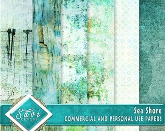 CU Commercial Use Background Papers set of 6 for Digital Scrapbooking or Craft projects SEA SHORE, Designer Stock Papers