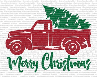 Christmas Truck, svg, cut, file, decal, vector, tree, winter, holidays, silhouette cameo, cricut, cutting, clipart, merry, files, design