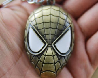 Spiderman Mask Keyring - Bronze Marvel Charm