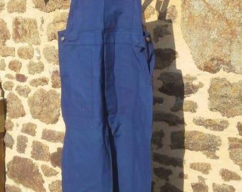 Vintage French bleu du travail, blue cotton dungarees or salopettes