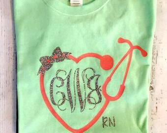Monogram Heart Stethoscope Tee, Monogram Stethoscope t-shirt, Monogram Nurse Tee, Monogram Nurse T-Shirt, registered nurse tee
