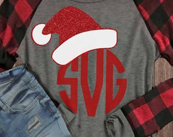 Santa hat, Christmas svg, Santa hat monogram svg, SVG, DXF, EPS, Christmas cut file, santa clause svg, monogram svg, holiday svg, cutter