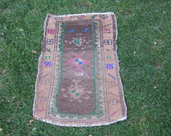 Turkish Rug 1x2 Brown Wool Pile Small Vintage Rug Hand Knotted Semi Antique Area Rug -HOPE0102