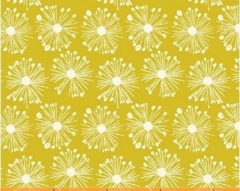 "ORGANIC Fat Quarter (18""x 22"") Cotton Burst on Chartruese designed by Carolyn Gavin for Windham Fabrics Hand Picked collection Floral Fabric"