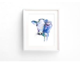 Framed Cow Watercolour Print