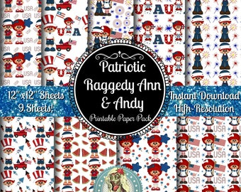 Raggedy Ann and Andy, Digital Paper Pack, Scrapbook Paper, Digital Paper Commercial Use, Raggedy Ann Doll, Raggedy Andy Doll, 4th of July
