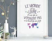 The world poster is a book, travel, escape, openness, adventure, French illustration
