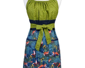 Womens Retro Kitchen Apron Michael Miller Nite Woodland Fox on Navy Blue Vintage Style with Lined Pocket and Fitted Bodice Top