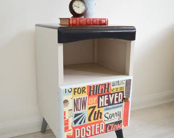 Retro Mid Century Bedside Table With Pull-Out Tray, 2 Compartments, Nightstand, Cabinet, Night Stand, Bedroom Table, Vintage, 1960s Table
