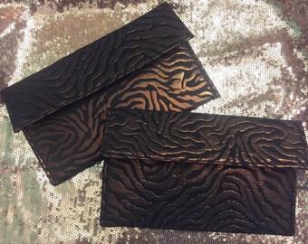 Metallic Zebra Mini Clutch Wallet