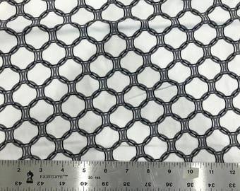 PRE-WASHED KNIT Fabric, Monochrome Rings Robert Kaufman Laguna Jersey, Cotton Spandex Knit, Jersey Knit Fabric