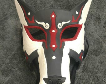 Handmade Handpainted Real Leather Wolf Mask