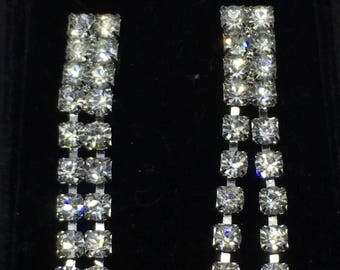 Vintage 1940/50s Rhinestone drop earrings - converted from clip-on to pierced - perfect for those fall weddings