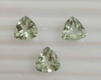 Green amethyst  faceted Gemstone 12 mm tirllion 3 pieces lot code  no. 6