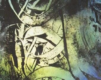 """Art  abstrait contemporain - Encres sur papier """"Peinture abstraite"""" Oeuvre originale - Volutes bleu-vert - Impression encre"""