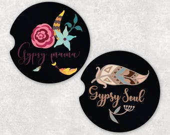 Floral Car Coasters - Gypsy Car Coasters - Cup Holder Coaster - Car Coaster Set - Floral Coasters - Coasters for Car - Gift for Mom