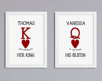 Her King - his Queen set 2, print, unframed