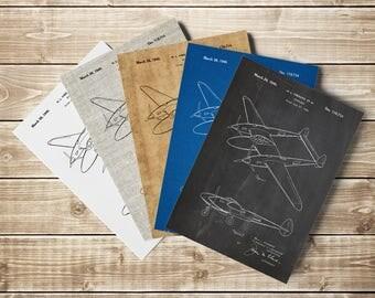 Lockheed, P-38 Lightning, Lightning, Airplane Birthday, Airplane Nursery, Aviation Decor, Aviation Gifts, Pilot Art Gift, INSTANT DOWNLOAD