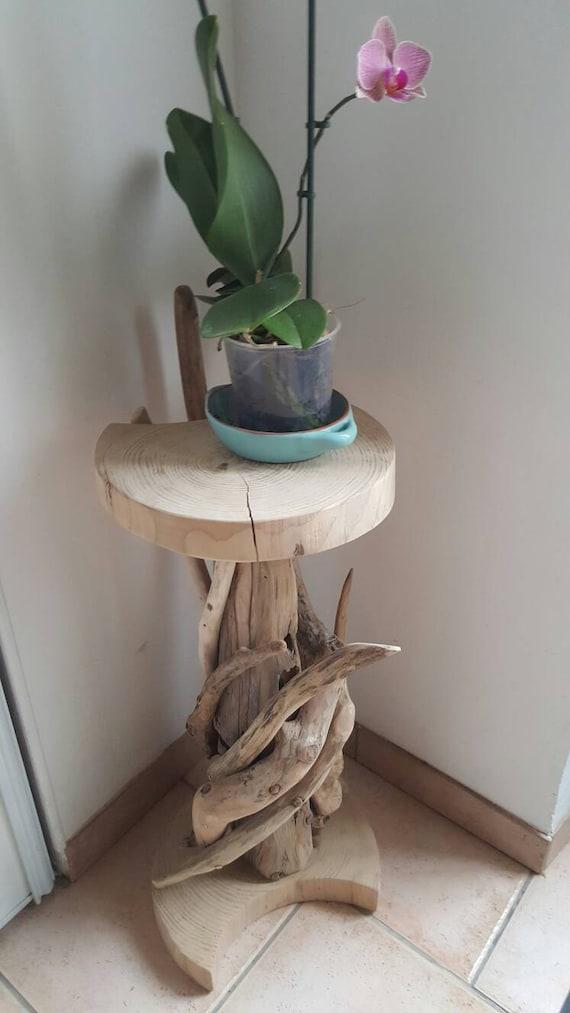 petitetable haute naturelle en bois flott ronde et de ces. Black Bedroom Furniture Sets. Home Design Ideas