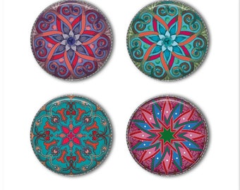 Mandala magnets or mandala pins, refrigerator magnets, fridge magnets, office magnets