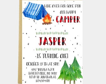 Camping Invitation, Camp Birthday Invitation, Hiking, Tent, Campfire, Rustic Birthday, Forest, Woods, Camping Party, Printable or Printed