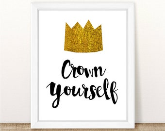 """Crown Yourself Printable Sign. Where The Wild Things Are Birthday Party or Baby Shower. 8x10"""" . Instant Download."""