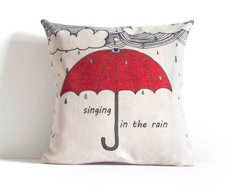 Singing in the Rain - Umbrella Design - Pillow Cover, Decorative Pillow Cover, Pillow Covers, Throw Pillow, Pillow Cushion