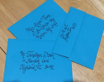 royal blue quinceanera invitation envelopes in calligraphy - Royal Blue Quinceanera Invitations