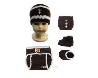Crochet football Hat/Diaper Cover/Baby football Set/Crochet football Set/Football Set /Hat/Diaper Cover/ Boots/shoes/Photo Prop