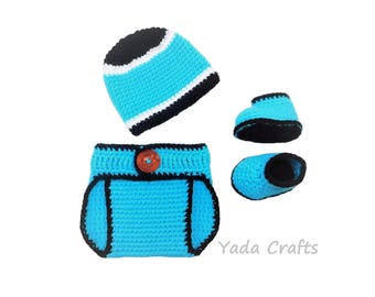 Crochet Baby Carolina Panthers Diaper Cover Set/Hat/Shoes/Baby Football/Newborn/Baby  Girl/Baby boy/Newborn Photo prop/Baby Shower Gift