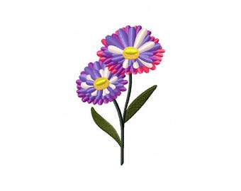Aster floral flower embroidery design