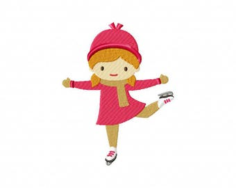 Ice skating girl winter embroidery design