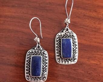 Lapis  lazuli Earrings -  Lapis drop Earrings - Blue Lapis Dangle Earrings - Blue Stone Earrings - Lapis Jewelry, kuchi earrings