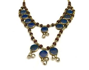 kuchi Lapis necklace, long boho necklace, bib necklace, tribal jewelry, woman necklaces , lapis lazuli necklace, gypsy necklace,