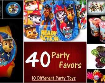 Paw Combo- 40 Party Favors Combo-Toys Birthday Prizes Pinata Filler Pack Patrol Noisemakers