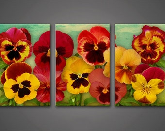 Flower wall Art, Art Print on Canvas,Extra Large Wall Art , Canvas Art, Home Art, Living Room Flower Picture, 3 piece wall art