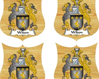 FAMILY NAME CREST. Coat of Arms  (Set of 4)