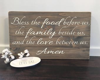 Bless the food before us, the family beside us, and the love between us / Kitchen Sign / Dining Room Sign / Rustic Wood Sign