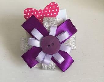 Purple & silver circular hair bow