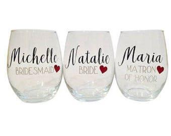 Personalized Stemless Wine Glasses, Bridesmaid Glasses, Bridal Party Glasses, Custom Name, Monogram, Bridal Party Gift, Glassware