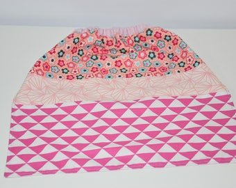 Napkin / canteen elasticated - 4/6 years - Patchwork fabric - pink, ice blue and white tones / 00403