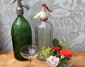 Glass soda syphon bottle - vintage green soda bottle - vintage French soda syphon - retro barware