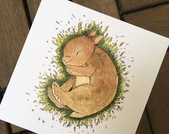 Sleep tight - rabbit - post card 14, 8 x 14, 8 cm, 300 g