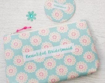 Bridesmaid's Make Up Bag and Pocket Mirror  - bridemaid's gift - wedding gift - Cosmetic bag - pocket mirror