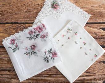 3 white pink rose vintage handkerchiefs, floral hankies, wedding hankie, flowergirl ladies hankies, antique handkerchief