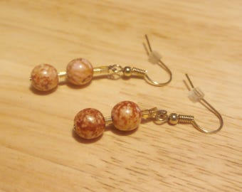 Salmon and gold glass beaded earrings
